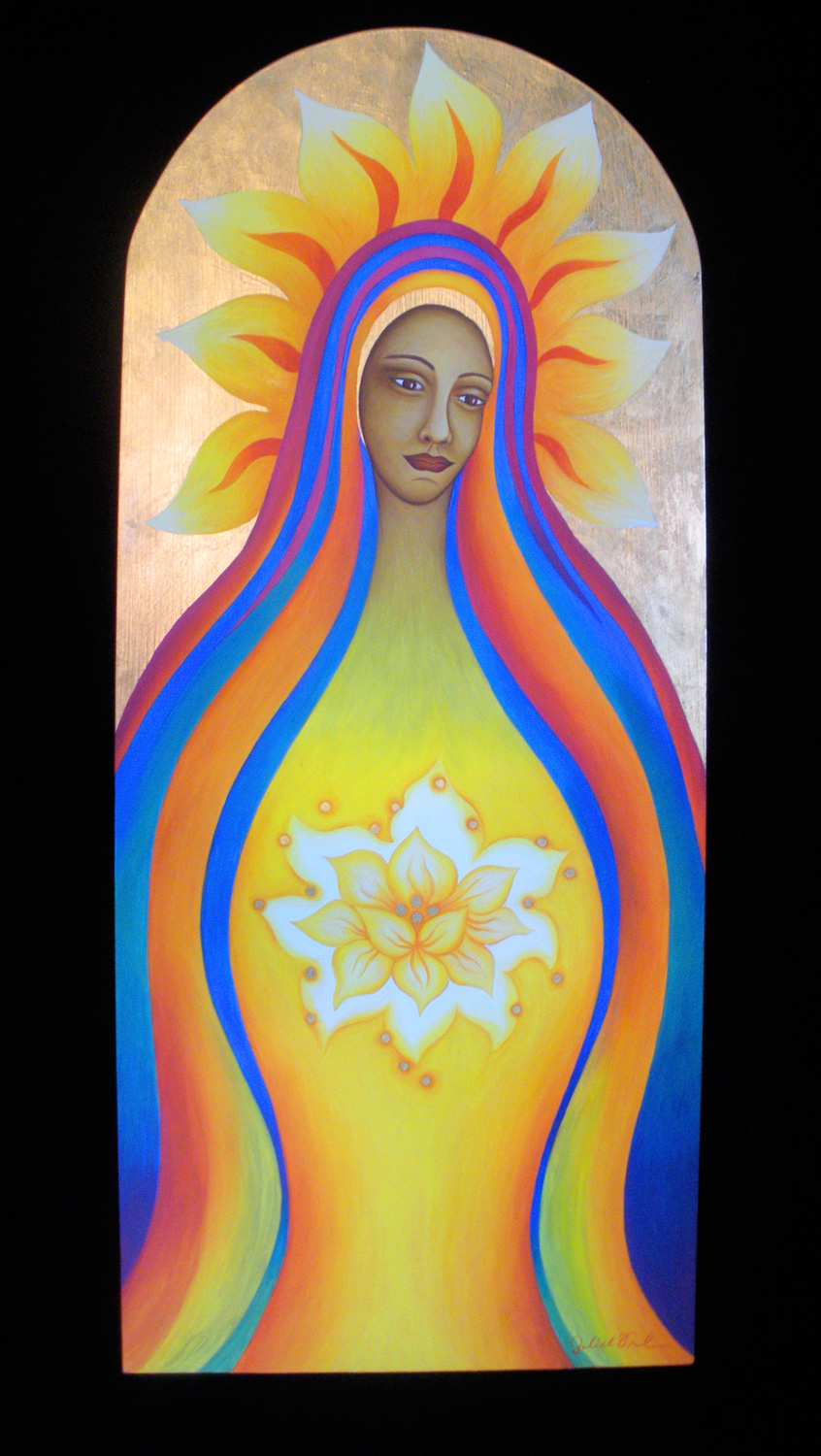 "Oil & 22kt gold leaf on wooden panel - 38"" x 16"" - $1,900 USD"