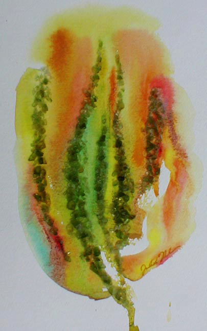 "watercolor and crushed glass on paper - 9"" x 5 1/2"" - Sold"