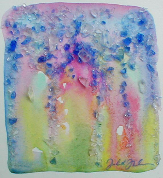 "watercolor and crushed glass on paper - 4"" x 4 1/2"" - Sold"